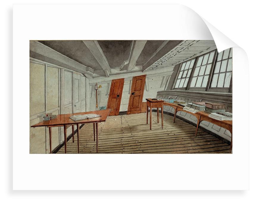Interior of a ship's cabin, circa 1819 by English School