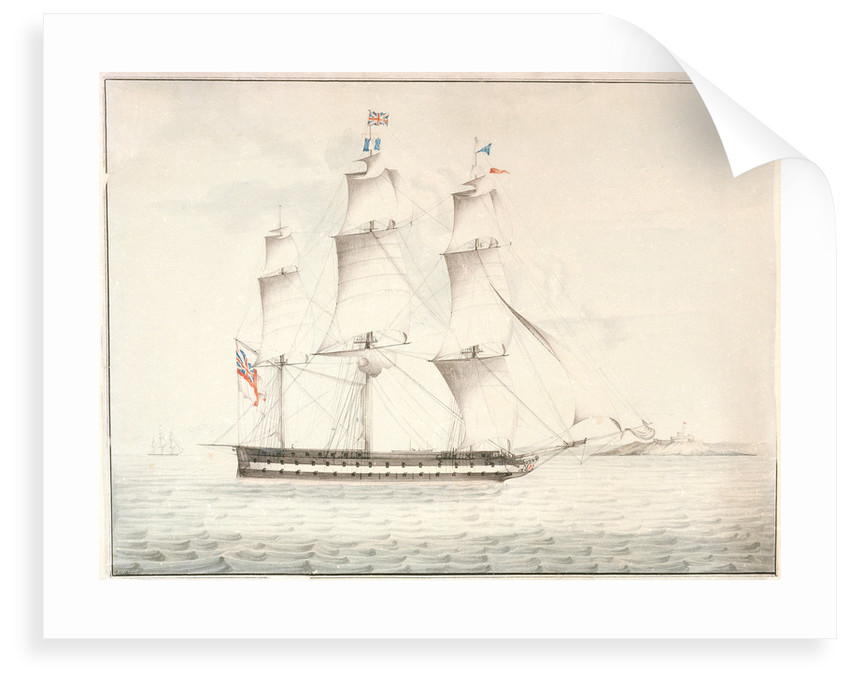 HMS 'Norge' (captured from the Danes 1807) off Pendennis Castle by W. H.