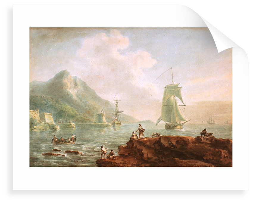 A cutter and a man-of-war off Corsica, 1788 by Nicholas Pocock