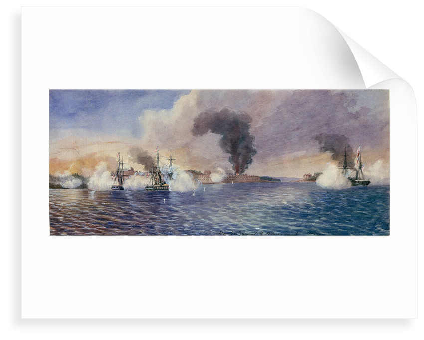 Bombardment of Bomarsund, August 1854 by Edward Hodges Cree