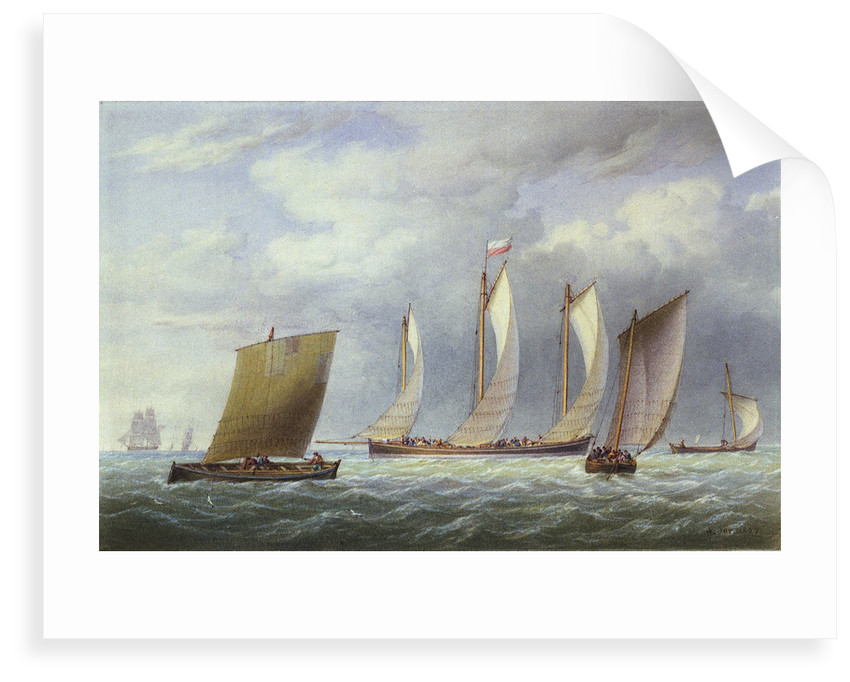 A lugger with other small craft in a fresh breeze by William Joy