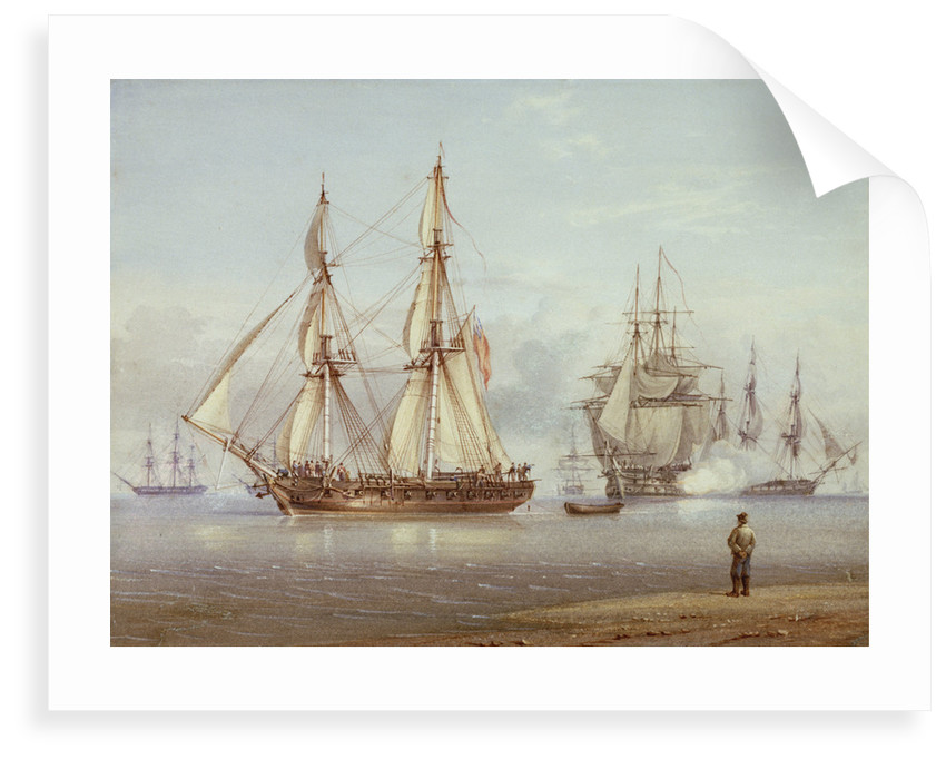 Action with English frigate in foreground. Clio - Light air by William Joy
