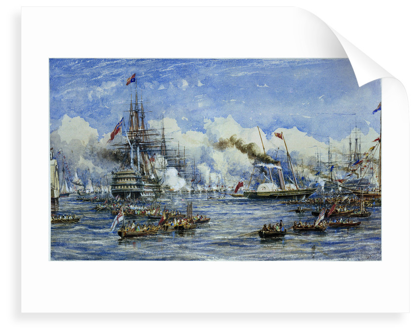 Her Majesty's visit to the Flagship, 11 August 1853, showing 'Duke of Wellington' and 'Victoria & Albert' by William Adolphus Knell