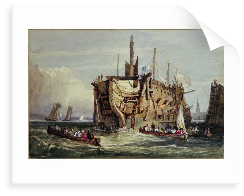 Convicts being rowed out to a prison hulk on the Thames by George Cooke