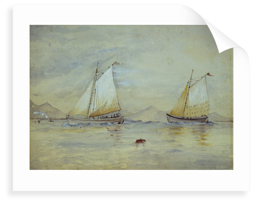 Two sailing craft off a shore by Lady Emily Frances Phipps Hornby