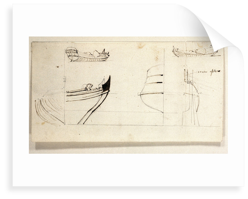 Two views of yacht and profiles of bow and stern by Willem Van de Velde the Younger