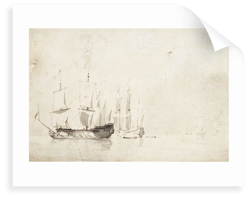 English ships becalmed by Willem Van de Velde the Younger