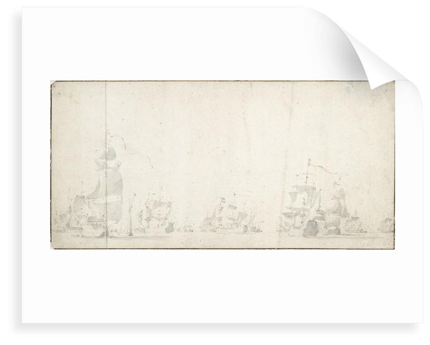 De Ruyter's voyage to Bergen, autumn 1665; the Dutch fleet lying by by Willem van de Velde the Elder