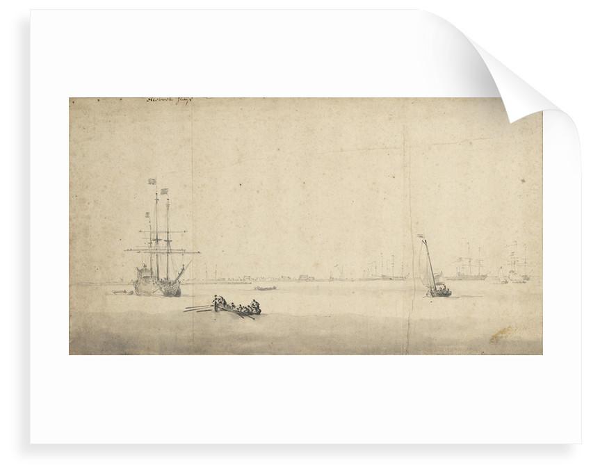 Shipping off Hellevoetsluis by Willem Van de Velde the Younger