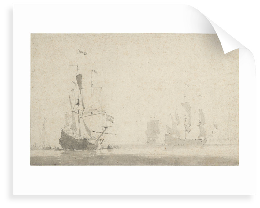 Dutch ships becalmed by Willem Van de Velde the Younger