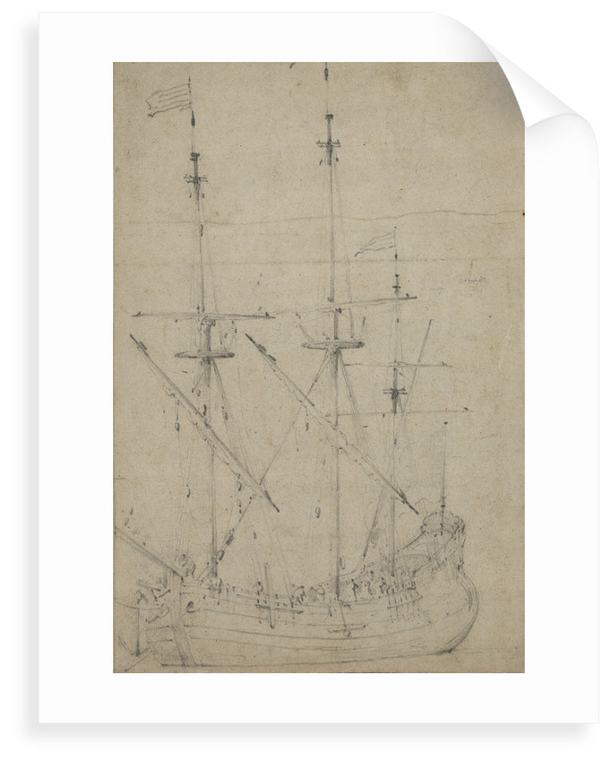 A small flute at anchor by Willem Van de Velde the Younger