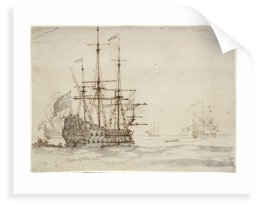 The 'Royal Oak' at anchor by Willem Van de Velde the Younger
