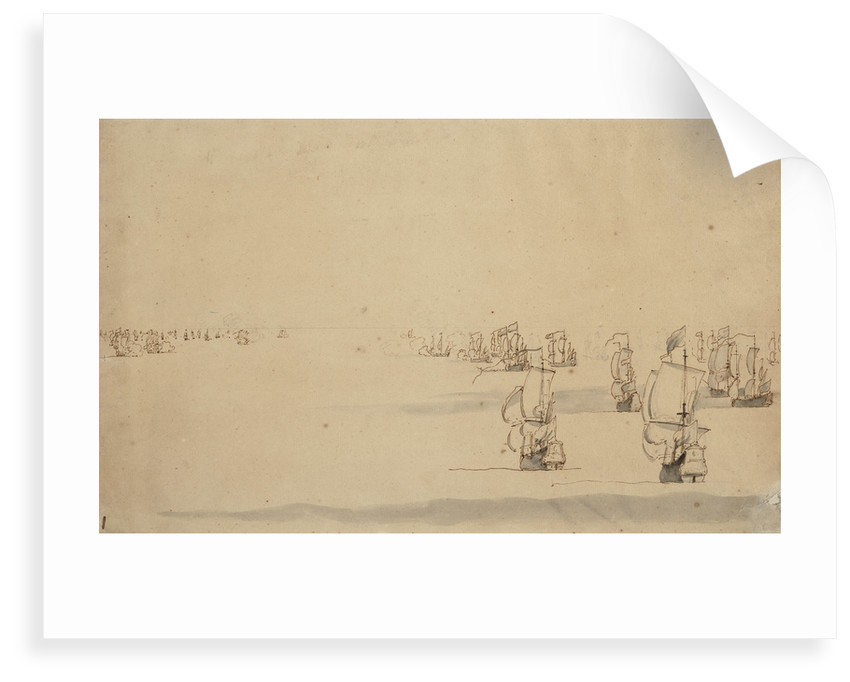 Two fleets about to engage by Willem Van de Velde the Younger