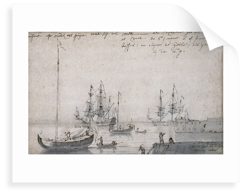 Two Dutch yachts and several ships at anchor by Willem Van de Velde the Younger