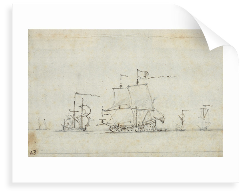 A flagship close-hauled on the starboard tack by Willem Van de Velde the Younger