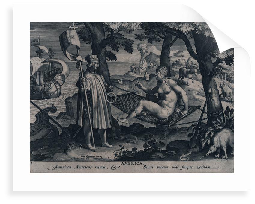 America. Americen Americus retexit, Semel vocauit inde semper exitam (the astrolabe) by Johannes Stradanus