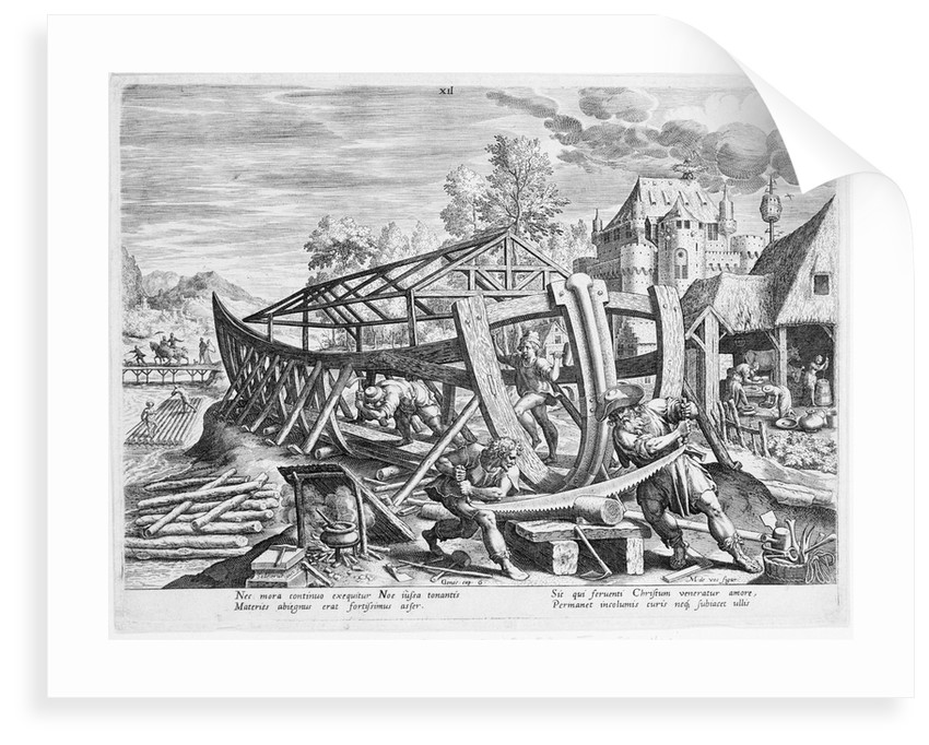 Building of the Ark. Nec mora... subiacet ullis. Plate XII of a set of sixteen illustrations for the book of Genesis by M. de Vos