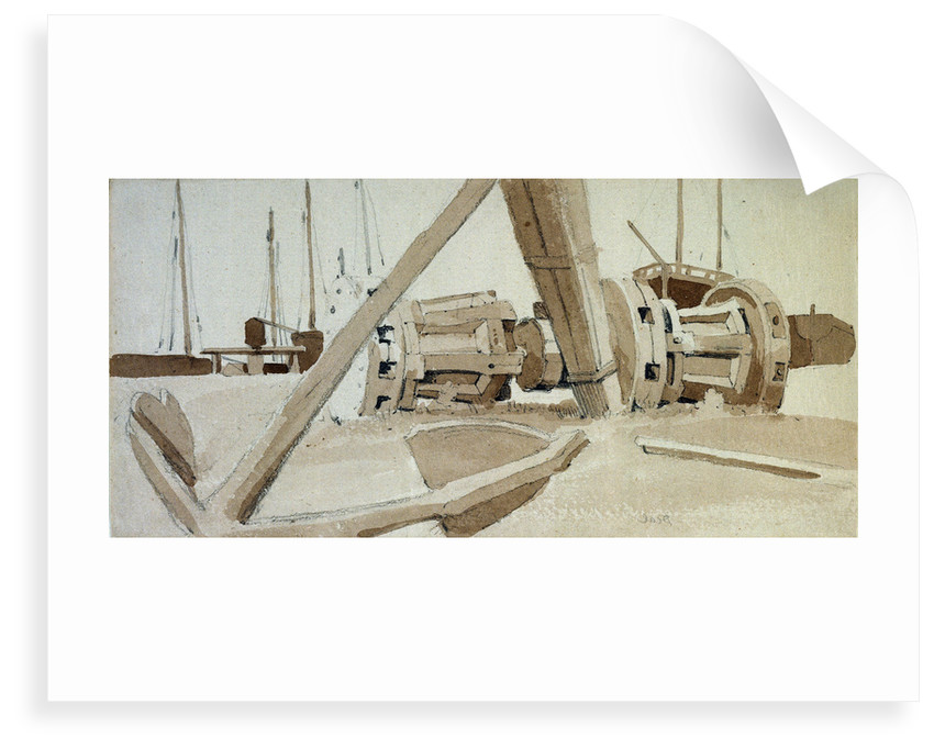 Study of an anchor and two capstans at Deal by Samuel Prout
