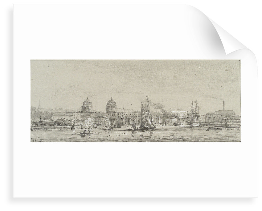 Greenwich Hospital from Blackwall reach, May 1871 by Auguste Ballin