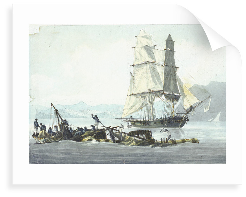 HMS sloop 'Speedy' falling in with the wreck of 'Queen Charlotte', 21 March 1800 at Leghorn by unknown