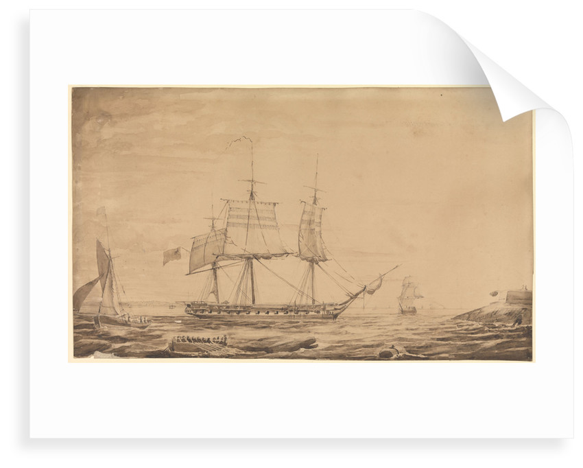 HMS 'Barham' dropping out of Sheerness Harbour, 7th February 1836 by Francis Byron