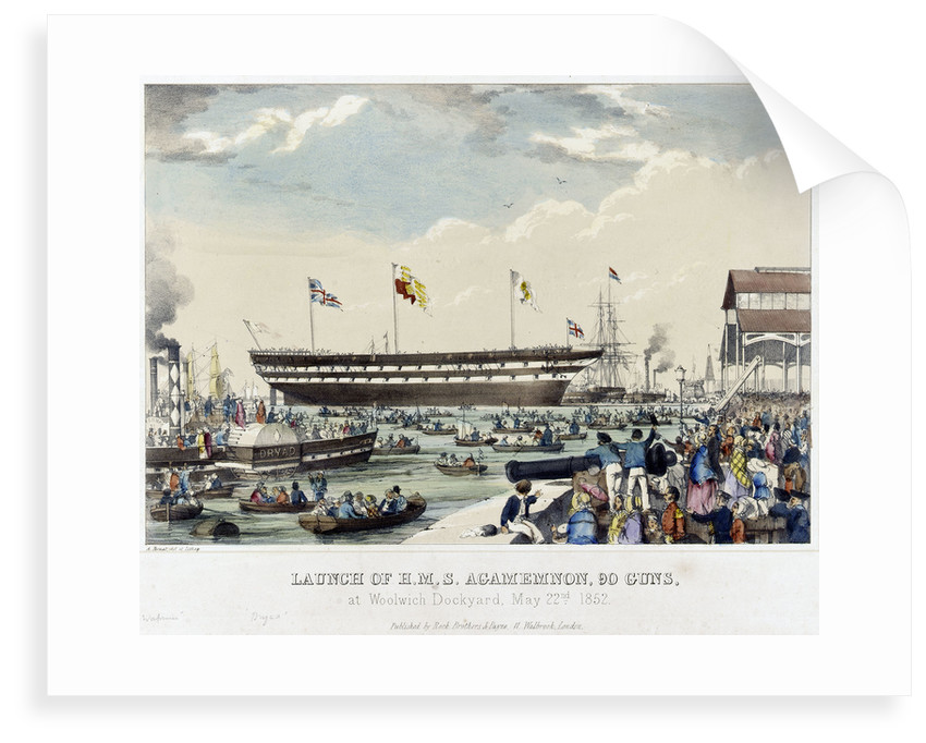 Launch of HMS 'Agamemnon', 90 guns, at Woolwich Dockyard, 22 May 1852 by A. Pernet