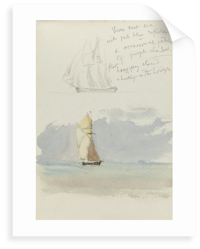 Two sketches of a sailing vessel at sea by John Brett