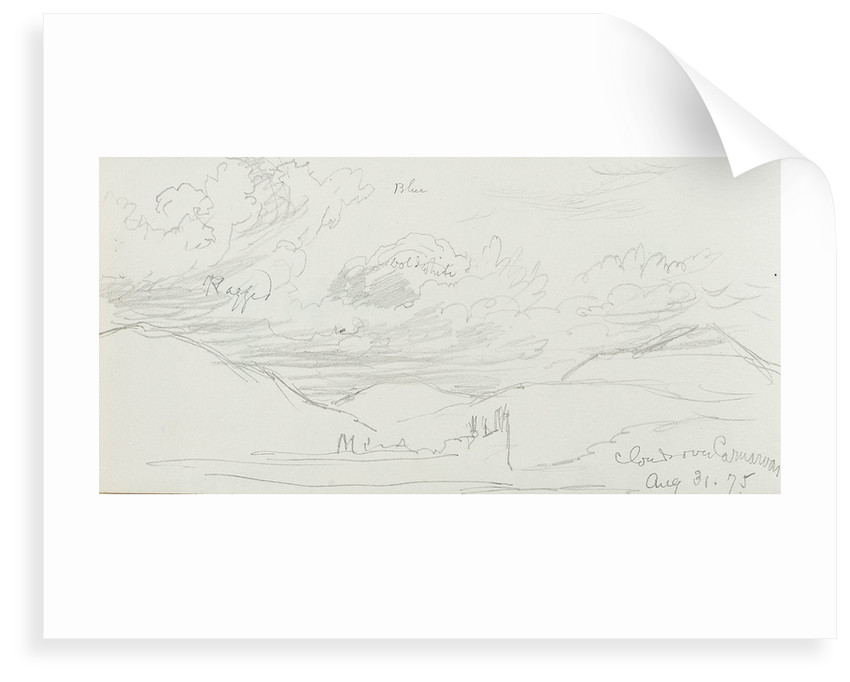 Sketch of clouds, with notes, inscribed 'Clouds over Canarvon' (on reverse) by John Brett
