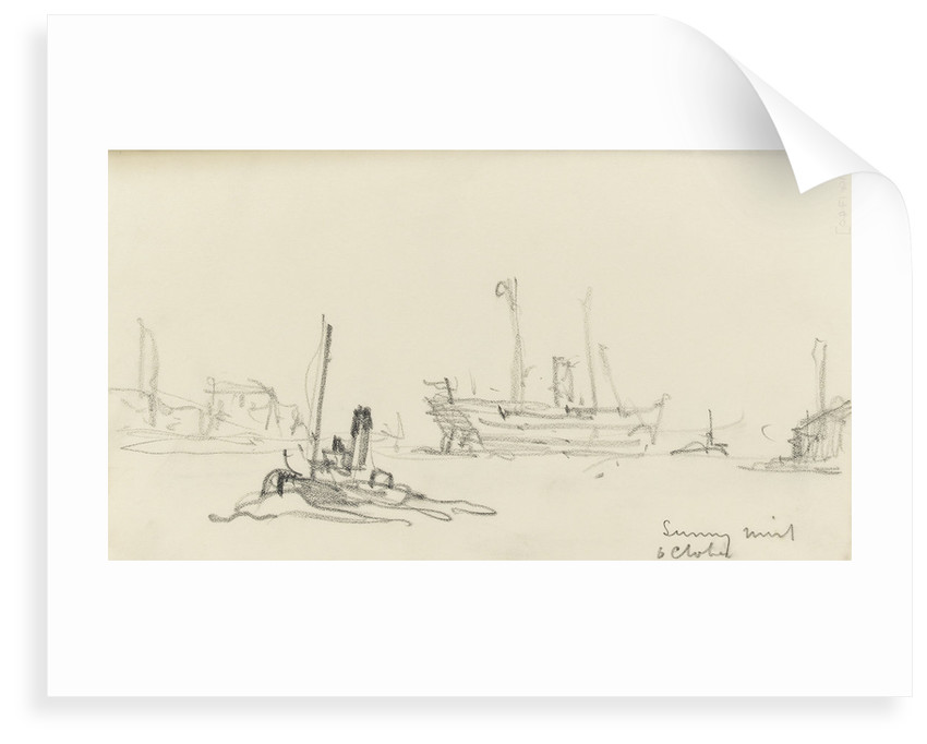 Sketch of SS Inchmore and tug in Woolwich Reach (on reverse) by Nelson Dawson