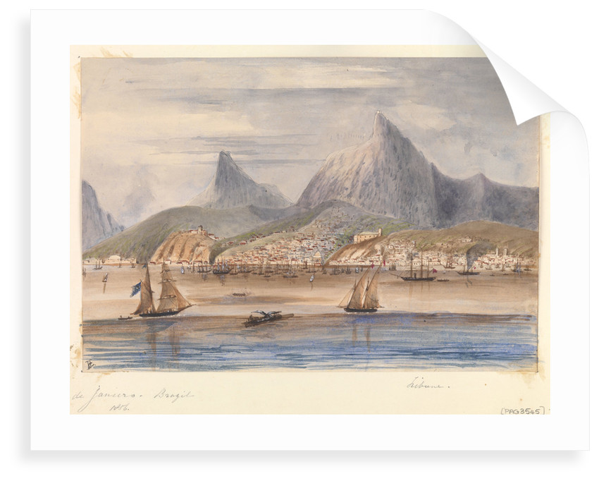 View of Rio de Janiero - Brazil 1856 showing HMS 'Tribune' at anchor by Harry Edmund Edgell