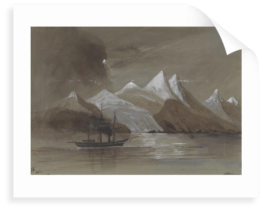 HMS 'Tribune' off Mount Sacramento 7000 ft high Magellan Straits S. America by Harry Edmund Edgell