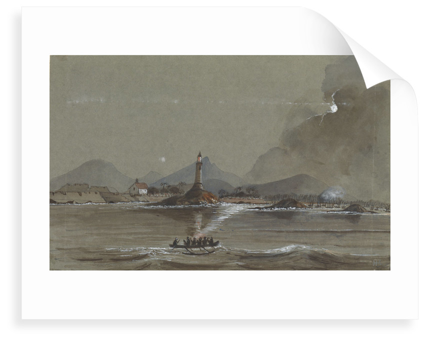 Moonlight scene of Lighthouse and Fort on Point de Galle Ceylon by Harry Edmund Edgell