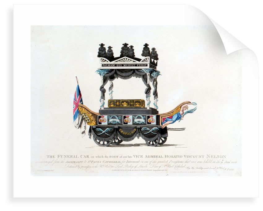 The Funeral Car on which the body of our late Vice Admiral Horatio Viscount Nelson was conveyed from the Admiralty to St Paul's Cathedral for Interment, in one of the greatet processions that ever was beheld, on the 9th Jany 1806 by Mcquin