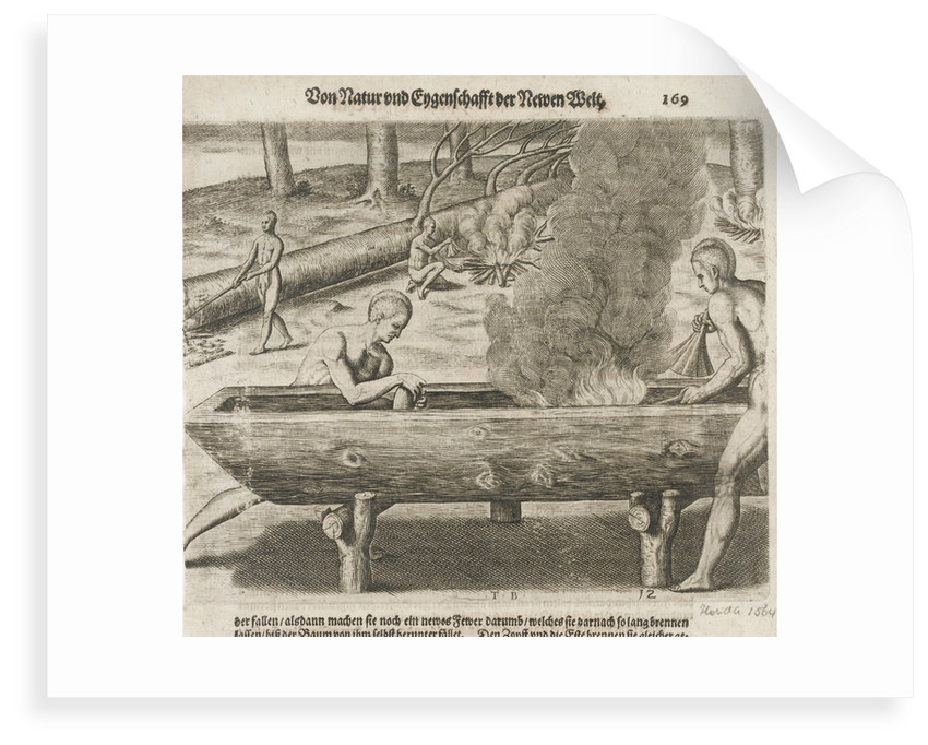 Natives hollowing tree trunks for boats, Florida 1564 by unknown