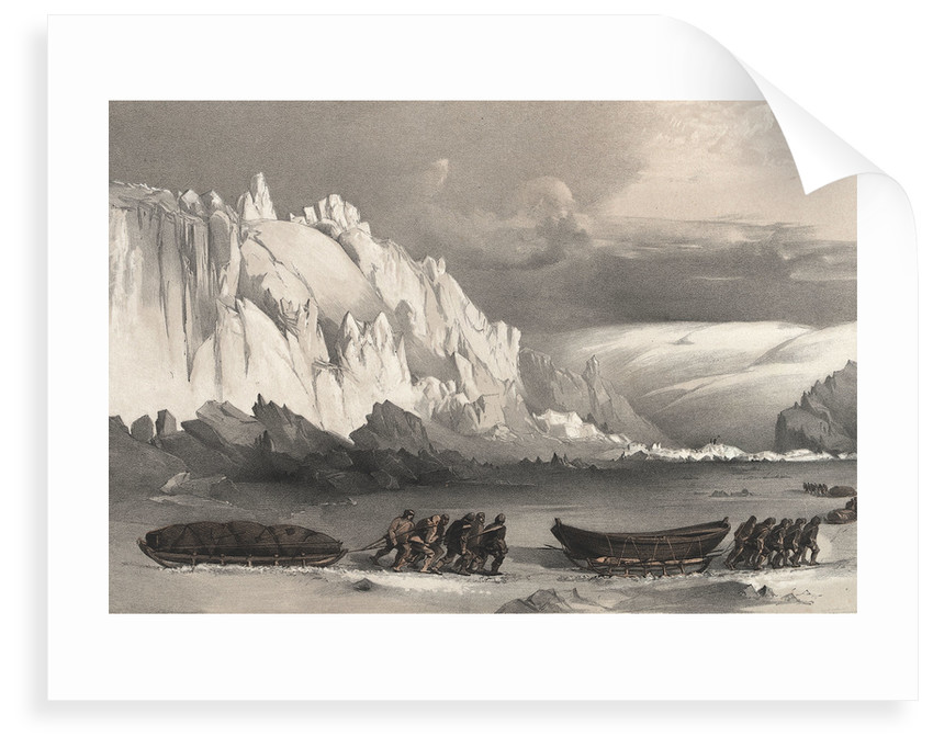 Division of sledges passing Cape Lady Franklin; extraordinary masses of ice pressed against the north shore of Bathurst Land by William Walter May