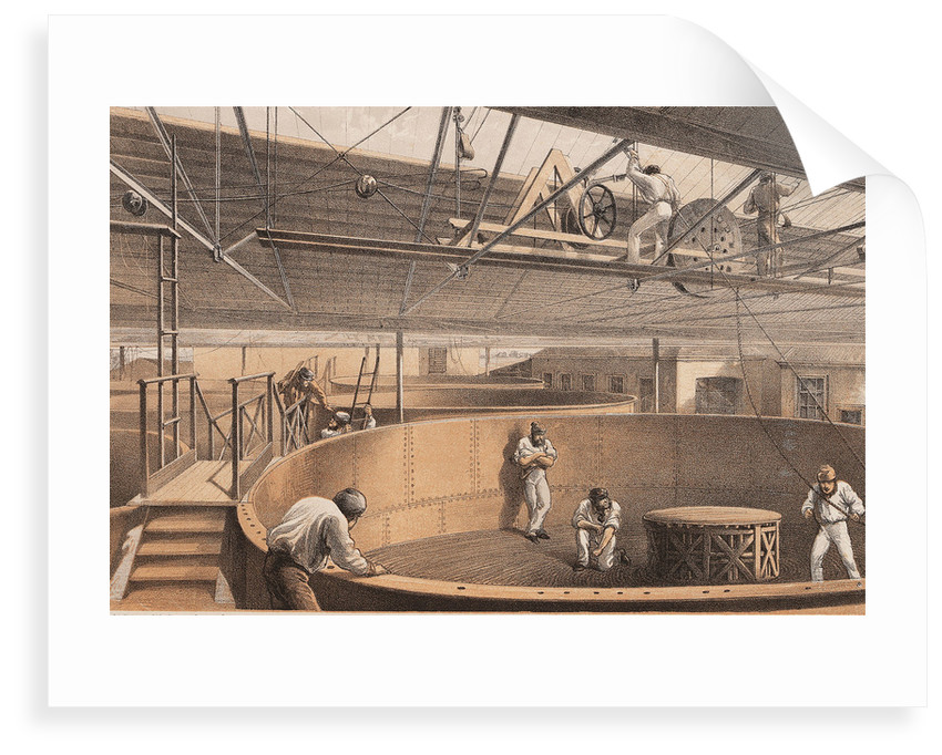 Coiling the cable in the large tanks at the works at Greenwich by R.M. Dudley