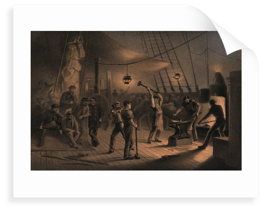 The forge on deck (of the 'Great Eastern') - night of August 9th preparing the iron plating for capstan by R. Dudley