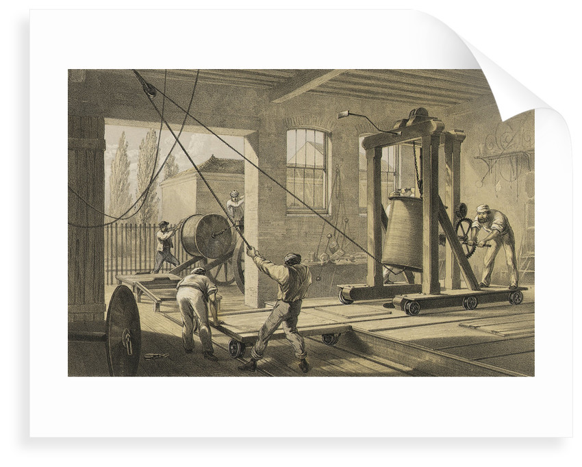 The reels of gutta percha covered conducting wire conveyed into tanks at the works at Greenwich by R. Dudley
