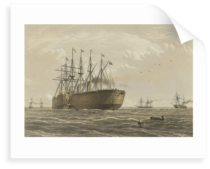 The 'Great Eastern' under weight July 23rd (escort and other ships introduced being the Terrible, the Sphinx the Hawk & the Caroline) by R. Dudley