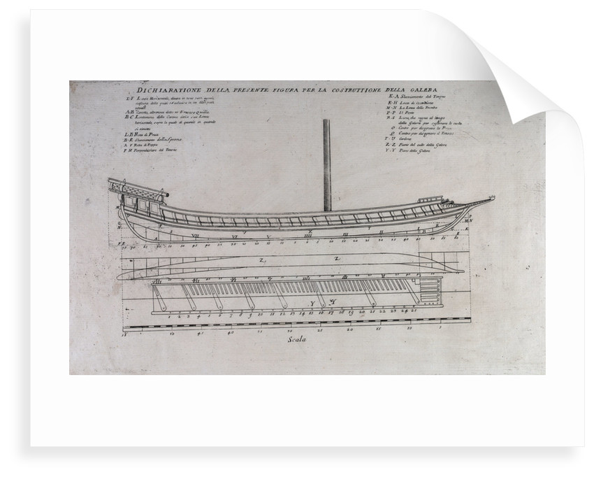 Ship plan for a galleon by unknown