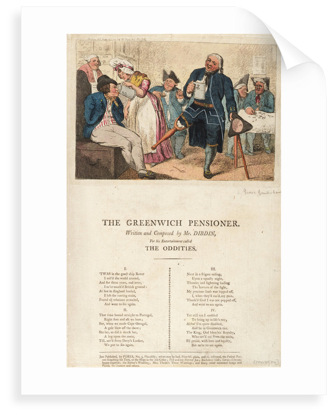 The Greenwich Pensioner Written and composed by Mr Dibdin, For his Entertainment called The Oddities by Isaac Cruikshank
