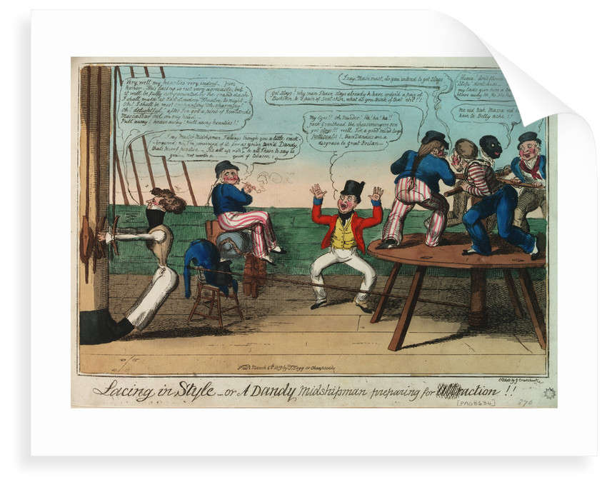 Lacing in Style - or A Dandy Midshipman preparing for action by George Cruikshank