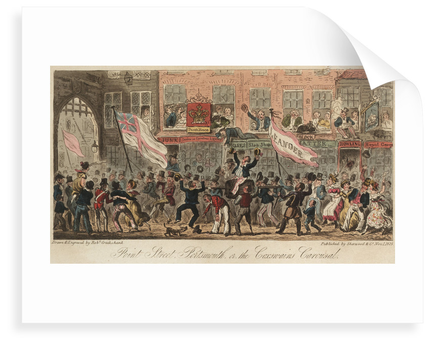 Point Steer, Portsmouth, or, the Coxwain Carousal by Robert Cruikshank