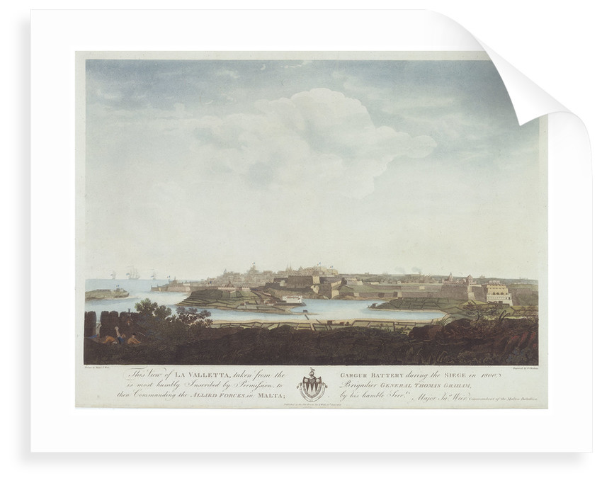 This view of La Valletta, taken from the Gargur Battery during the siege in 1800 by J. Weir
