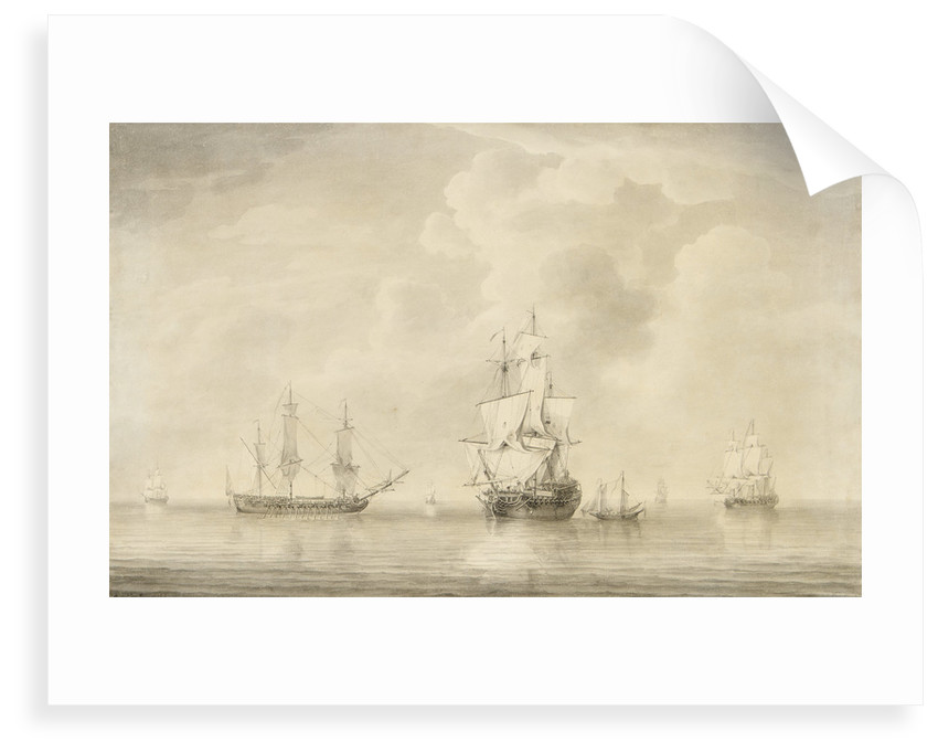 The taking of the 'Nuestra Senora de les Remedios' by the 'Prince Frederick', 'Duke' and 'Prince George' Privateers, 5 February 1746 by Charles Brooking