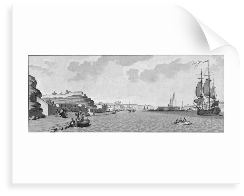 Mahon and the arsenal (with Spanish man-of-war on right) by unknown