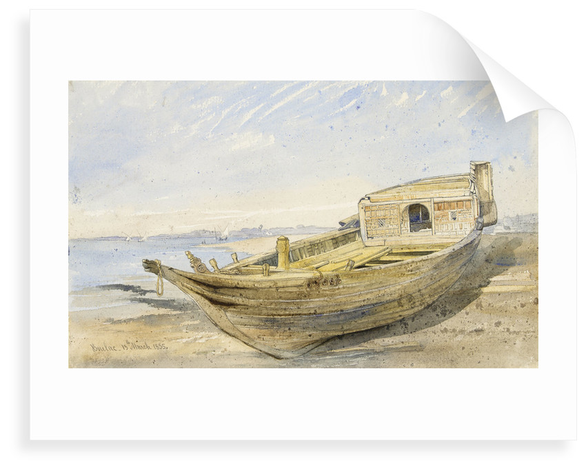 A river craft on shore at Boulac, 13 March 1855 by Frank Dillon