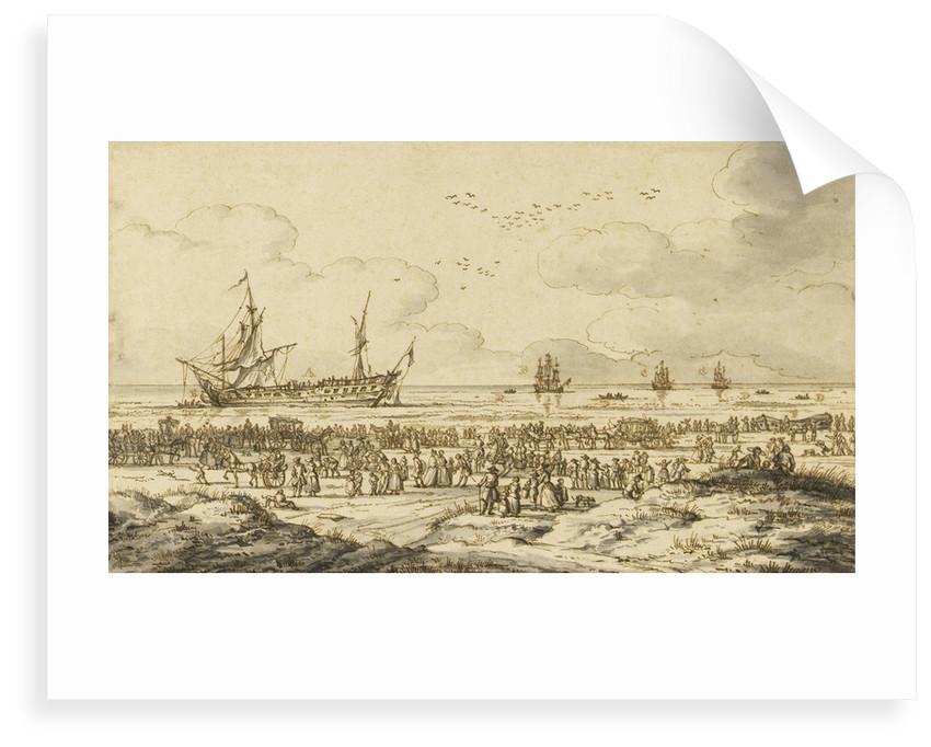 'Felicitie' driven ashore at Scheveningen by the 'Richmond', 24 January 1761 by Paul Constantin La Fargue