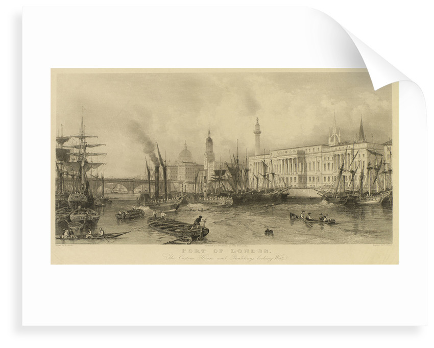Port of London. The Custom House and buildings looking west by Thomas Allom