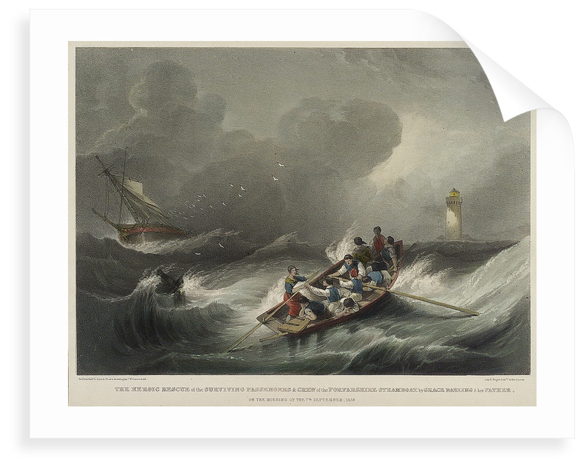 The heroic rescue of the surviving passengers and crew of the Forfarshire steamboat by Grace Darling & her father on the morning of the 7 September 1838 by John Wilson Carmichael